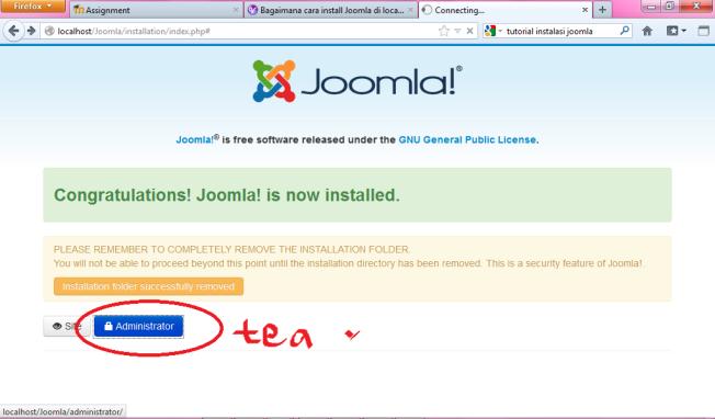 instalasi joomla >tea